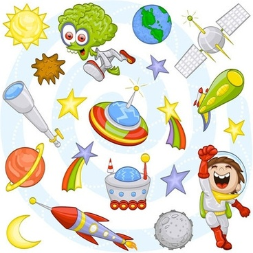 cartoon space pattern 02 vector