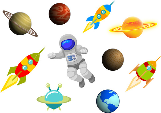 cartoon space science items set