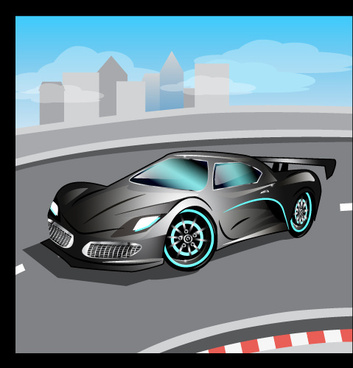 cartoon sports car design vectors set