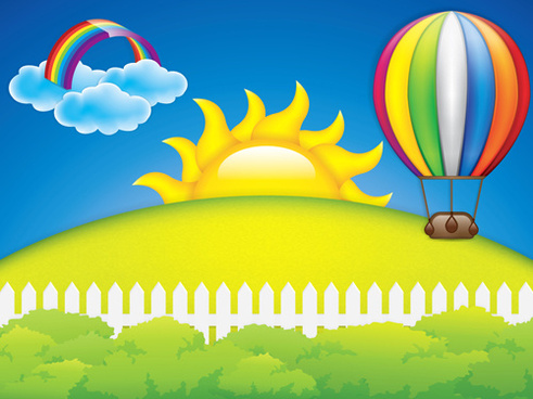 cartoon spring background bright vector