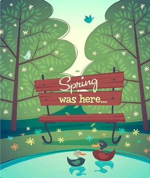 cartoon spring natural scenery vector background