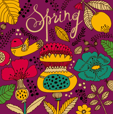cartoon spring tropical pattern background
