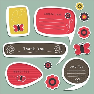 cartoon stickers vector labels dialog