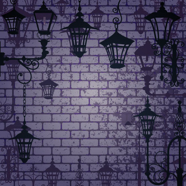 cartoon street lamp background vector set