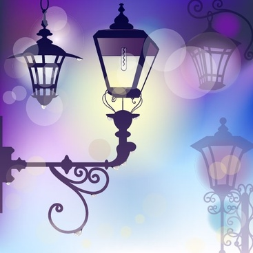 cartoon street light background 01 vector