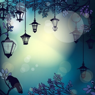 cartoon street light background 04 vector