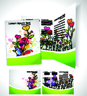 cartoon style brochure cover template vector