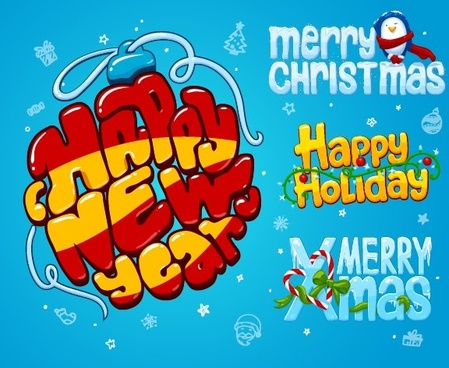cartoon style christmas and new year design vector
