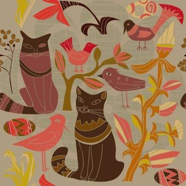 cartoon style decorative birds and cats 01 vector