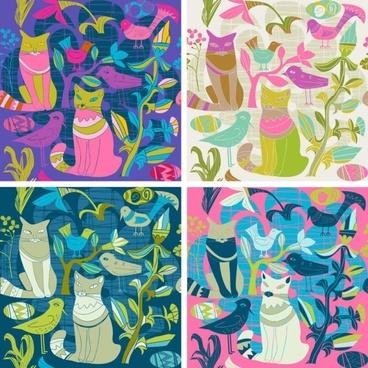 cartoon style decorative birds and cats 02 vector