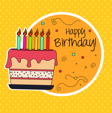 cartoon style happy birthday greeting card template