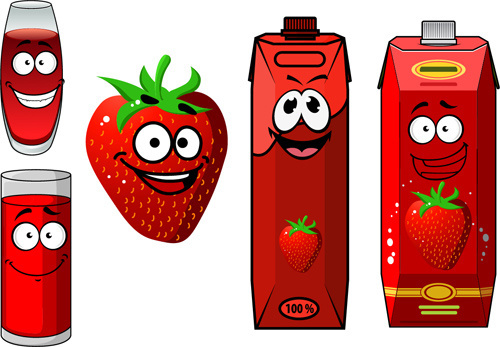 cartoon style packaging with juice vector set