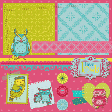 cartoon style scrapbook illustration vector set