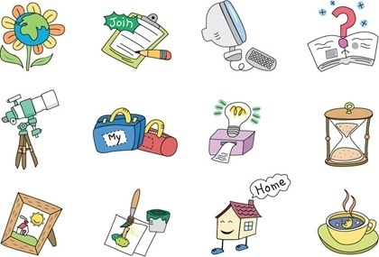 various icons collection cartoon design retro style