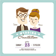 cartoon style wedding invitation cards