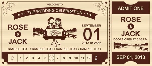 cartoon style wedding ticket vector set