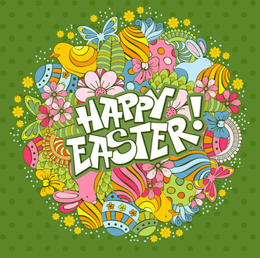 cartoon styles floral easter background vector