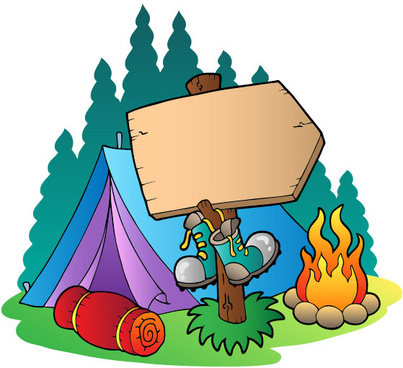 cartoon summer camp elements illustration vector
