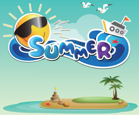 cartoon summer elements vector