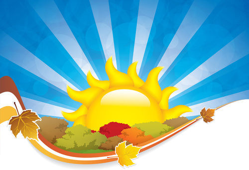 cartoon summer sun vector background