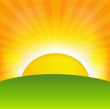 sunrise background modern colorful flat sun rays sketch