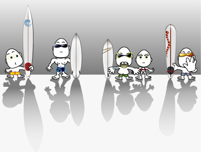 cartoon surf characters vector
