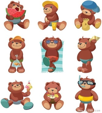 teddy bear icons cute stylized design cartoon characters