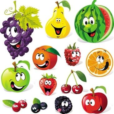 cartoon the fruit facial expressions vector