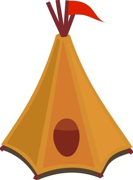 Cartoon Tipi Tent With Red Flag clip art