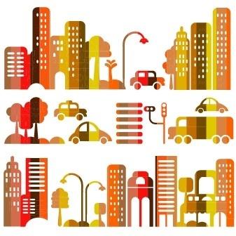 cartoon town buildings design vector graphics