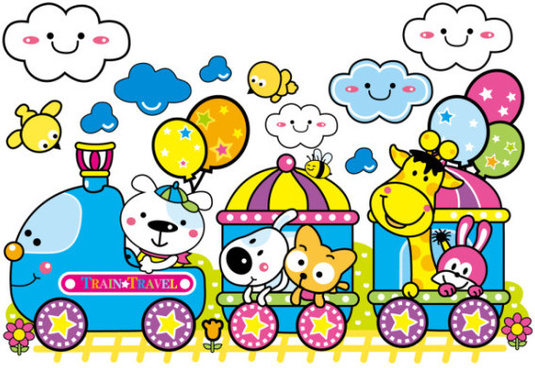 cartoon train and small animals vector