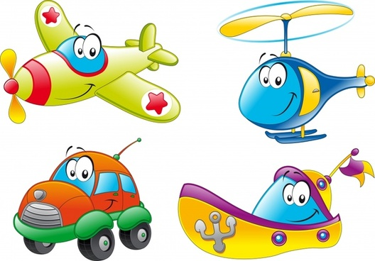 vehicles icons cute stylized cartoon decor