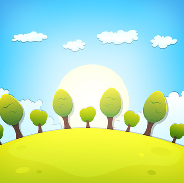 cartoon tree and clouds scenery background vector
