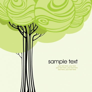 nature background template colored handdrawn tree sketch