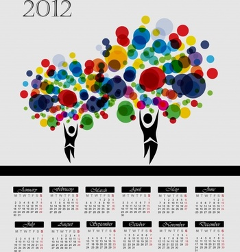 cartoon tree vector calendar 2012 calendar figures