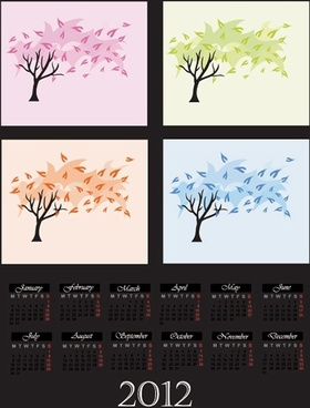 cartoon tree vector digital 2012 calendar