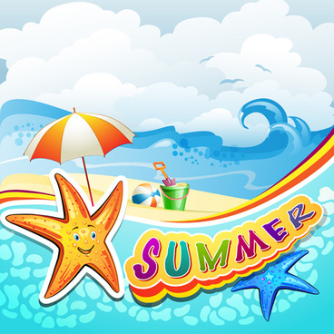 cartoon tropical beach vector