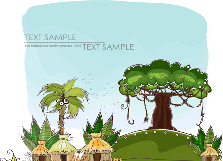 cartoon tropical theme background vector