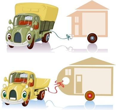 cartoon truck 04 vector