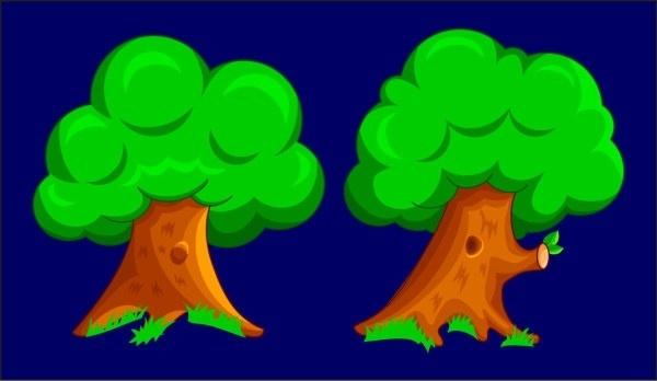 cartoon two trees