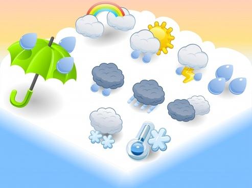 cartoon umbrella vector weather icons
