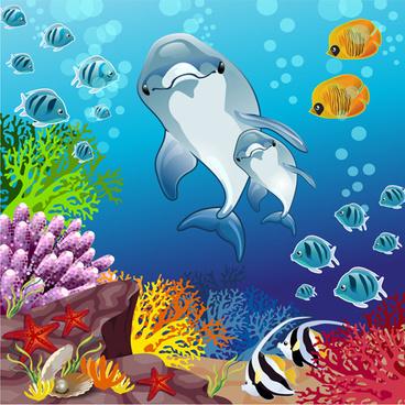 cartoon underwater world vector background