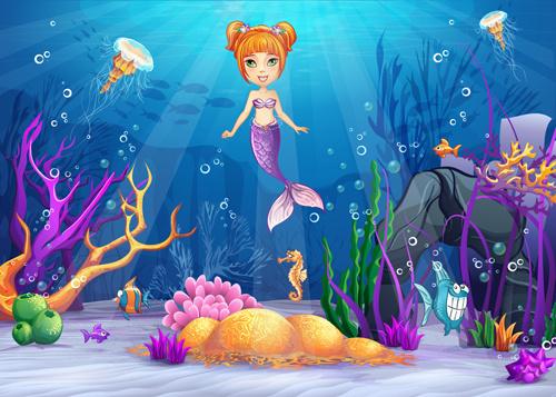cartoon underwater world vectors