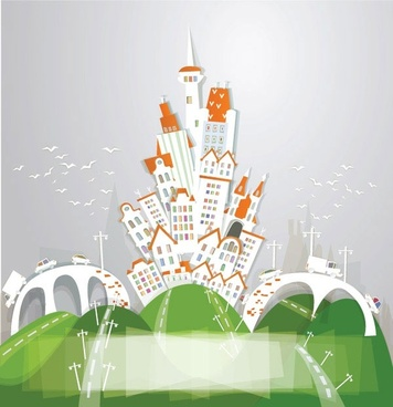 cartoon urban theme vector 2