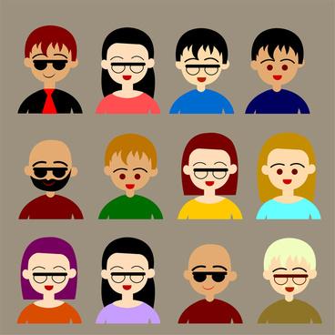 cartoon user icons set