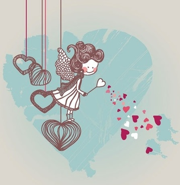 cartoon valentine illustrator 01 vector