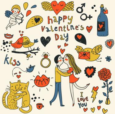 cartoon valentine ornaments vector graphics