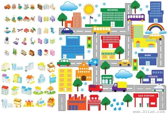 city scheme design elements colorful 3d icons