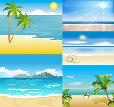 beach scene background templates bright colorful modern design