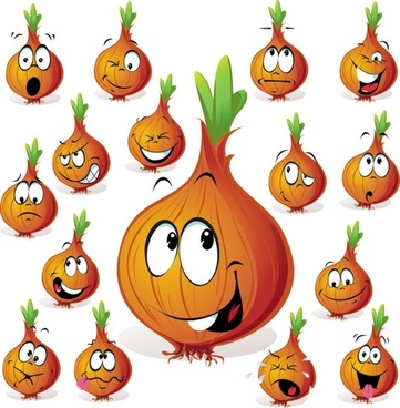 cartoon vegetables expression of 03 vector